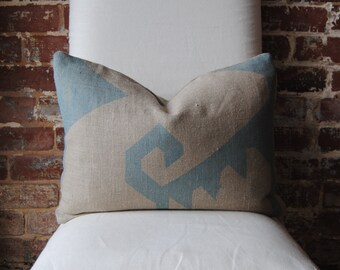 "Maya - Hand Print on Natural Linen - Pillow Cover - 15""x20"""