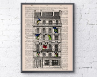 Summer Sale book print Bird House Print on Vintage Book page perfect gift altered art dictionary illustration book print ANI123