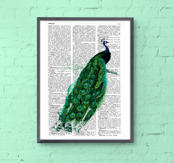 BOGO Sale Peacock art dictionary illustration book print peacock wall poster, green wall decor, gift her, peacock feather ANI148b