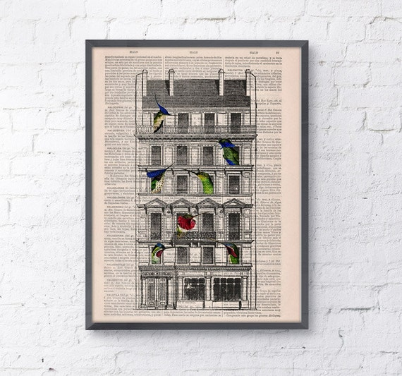 Christmas Sale book print Bird House Print on Vintage Book page perfect gift altered art dictionary illustration book print ANI123