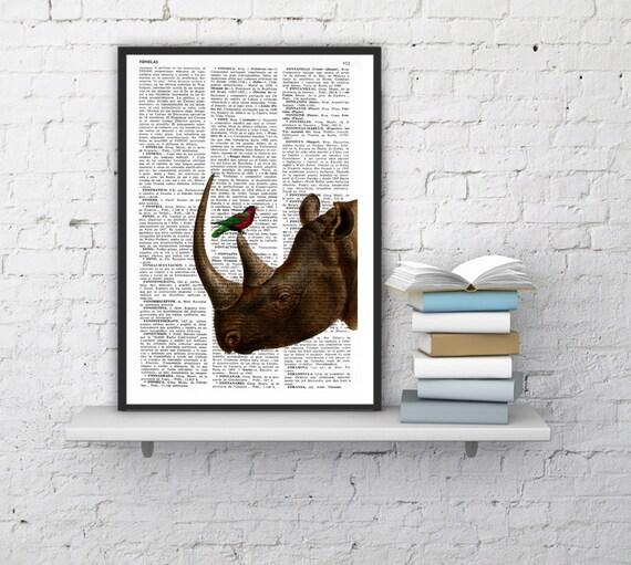Summer Sale Rhino and little bird Illustration poster dictionary page Wall hanging Giclee Print Animal Portrait print rhino ANI072
