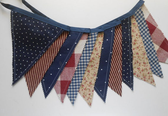 Patriotic Banner/ Americana Red, White and Blue Bunting/ 4th of July Banner/ Photo Prop