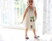 Girls' linen jumper dress. Special occasion wear. Natural elegant look. Size 4-5 years, ready to ship.
