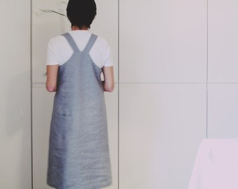 Linen dress. Women pinafore. Minimal style. Japanese style wear. Sizes S to XL. Minimal contemporary style.