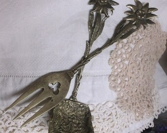 Serving Fork And Spoon Floral Motif