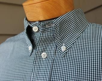 newer vintage -Gitman Bros.- Men's button down short sleeve shirt. Micro check in Dark Green & White. Extra Large - 2 X