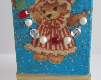 After Christmas Sale, Teddy Bear Christmas Collage, Mixed Media Collage, Altered Art, Deck the Halls