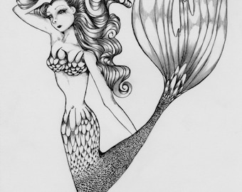 Mermaid Pencil Drawing OOAK Original Pencil Drawing Illustration Hand Drawn Sketch Fine Art  Black and White