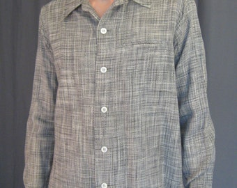 Mens Vintage 1950s Christian Dior Fleck Shirt / 50s Dior Mercerized Cotton / Linen, Black, White, Gray Fleck / Check / Atomic / Collar Loop