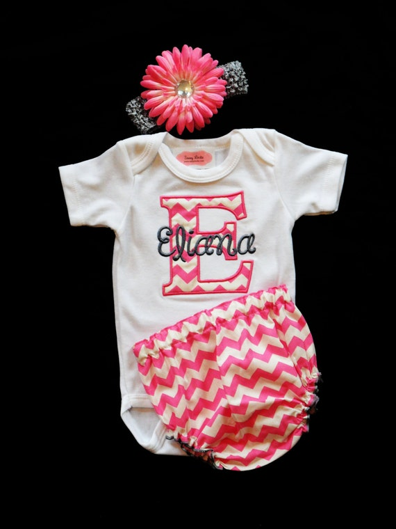 personalized baby girl clothes newborn girl take home outfit chevron baby girl diaper cover