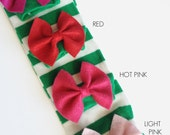 Green and White Striped baby leg warmers with bow