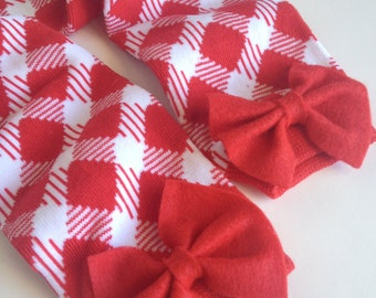 Christmas Leg Warmers, Red and Green Plaid with Red Bows