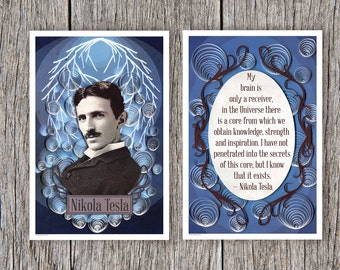 Nikola Tesla poster set, Tesla Portrait and Inspirational Quote print set, Paper art print, 12x18