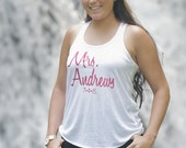Personalized Mrs. Tank top for new Bride. Bridal tank top. Bridal Shower gift. Future Mrs. Bride to be. Wedding gift. Honeymoon outfit