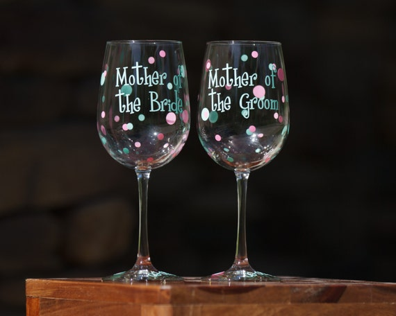 Mother of the Bride or Mother of the Groom polka dot wedding wine glasses.  Mint blue, light pink.  Wedding party gifts for parents
