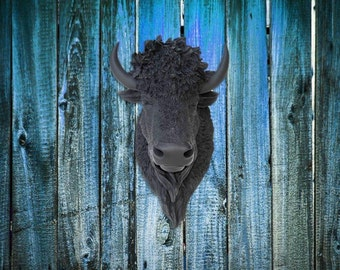 Faux Black Bison Head Wall Mount - Faux Taxidermy BIH17