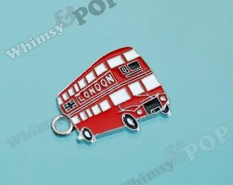 1 - London Double-Decker Red Bus Enamel Charm, Bus Charm (1-6C)