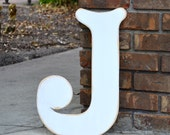 "18"" Wooden Letter J, Elegant Font in Distressed White - all letters available in many colors"