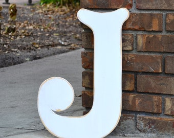 """18"""" Wooden Letter J, Elegant Font in Distressed White - all letters available in many colors"""