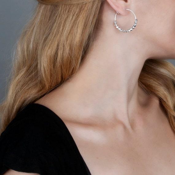 Silver Earrings,Silver Hoop Earrings, Silver Hoops, Beaded Hoops, Bridal Earrings, Bridesmaid Gift , Simple Earrings, Delicate Earrings