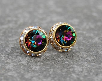 Rainbow Clear Crystal Diamond Earrings Swarovski Crystal Jewel Tone Rainbow Stud Earrings Sugar Sparklers Stud Earrings Mashugana