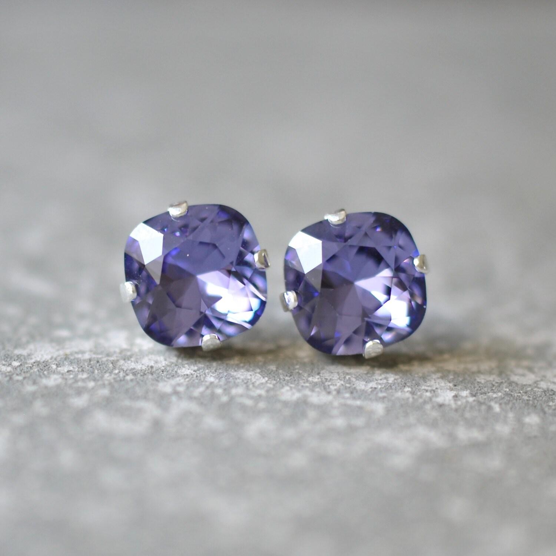 Tanzanite Purple Earrings Swarovski Crystal Tanzanite Square