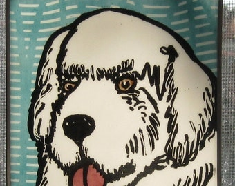 Stained Glass Dog  Suncatcher  Pyranean Mountain Dog JRN196