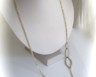 Super Long Shimmery Pave Multi Strand Chain Necklace