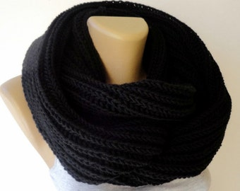 black Knit Scarf Winter Scarf Women Knit Infinity Scarf Scarves Men Scarf Women Fashion Accessories Christmas Gifts Holiday senoaccessory