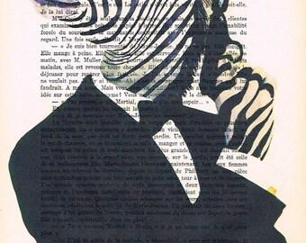 James Bond Zebra: Print Poster Illustration Acrylic Painting Animal Portrait Wall Decor Wall Hanging Wall Art Drawing Glicee Movie art