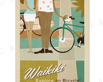 Waikiki - Fun on Kalakaua Ave. - 12x18 Retro Hawaii Print