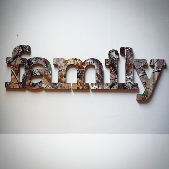 Family Sign Wall Decor In RealTree Camo Great For A Gallery Wall Or