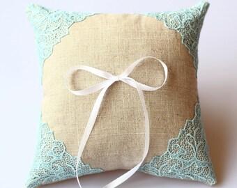 Ring Pillow, Wedding Ring Cushion, Linen Pillow, Lace Pillow, Wedding Pillow, Ring Bearer Pillow