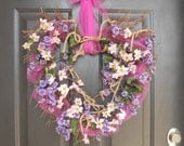 Floral Wreath, Heart Wreath, Vine Wreath, Grapevine Wreath, Pink Tulle, Handmade Wreath, Shabby Chic Wreath, Valentine Wreath, Spring Wreath