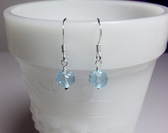 Blue Topaz Drop Earrings, Mom Sister Grandmother Christmas Girlfriend Wife Aunt Bridesmaid Jewelry Gift, Sterling Silver, Simple, Pretty