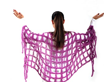 Hand Knit Mohair Shawl, Knitted Geometric Shrug by Solandia, Orchid, Rectangular, novelty shawl, original design, festival fashion