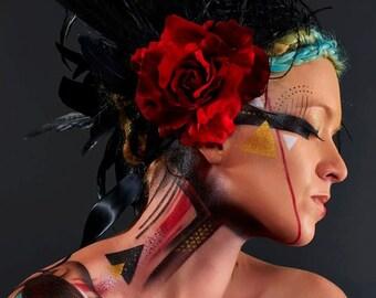 Stunning Dark Queen Red Rose Feather Headdress with Face Veil
