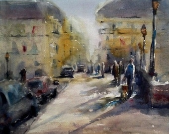 "Paris, street scene, bridge, France, architecture. A Parisienne Afternoon- Original Watercolor Painting 12"" x 12""."