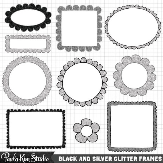 Black and Silver Glitter Frames - Doodle Border Clipart Downloadable ...