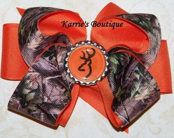 Camo Hair Bow or Headband / Mossy Oak & Orange / Flower Girl / Pageant / Photo Prop / Deer/ Infant / Baby / Girl / Toddler / Custom Boutique