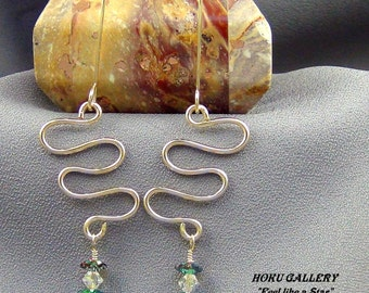 """Wirewrap, 14k Gold Filled, Swarovski Crystals Flowers, Earrings  - 2.75"""" - Hand Crafted Artisan Jewelry"""