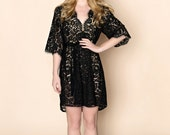 Ready to ship - Elizabeth Scallop Cotton floral Lace Bridal Robe in boudoir black