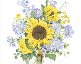 Sunflower Bouquet, Large Giclee Print