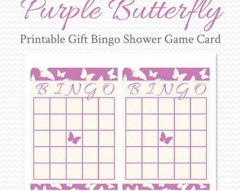 Purple Butterfly Bridal Shower Bingo Card, Printable Shower Game, Party Game, Baby Shower Game, Bingo Game, Gift Bingo -- Instant Download
