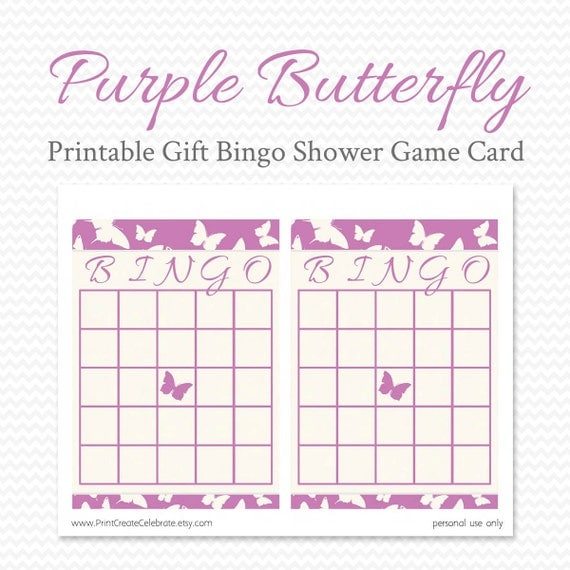 purple butterfly bridal shower bingo card printable shower game