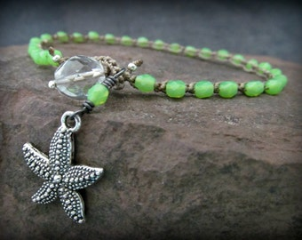 Beach Girl Anklet with Starfish Charm, Lime Green, Boho Beach Chic, surfer bohemian jewelry, Starfish anklet