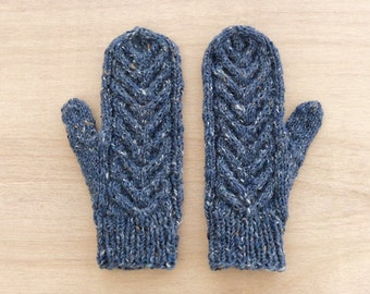 Wool Mittens, Winter Gloves, Gift for Her, Mittens with Cable Pattern, Grilfriend Gift, Women's Mittens