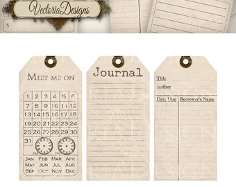 Organizing Printable journal Tags journaling shabby chic cards printable gift tags instant download digital Collage Sheet VD0365