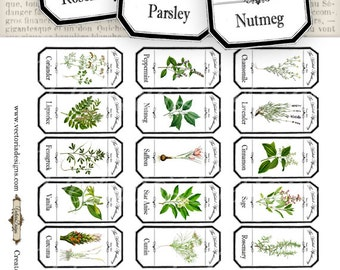 Mini Herbal Apothecary Labels - Save Ink - VDLAVI0832