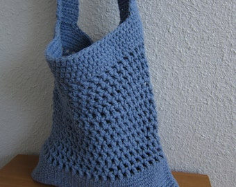 Cotton Crochet Tote in Faded Denim Blue - Eco-Friendly